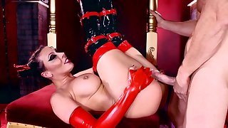 Busty milf receives extra long dick to play with in slutty xxx scenes